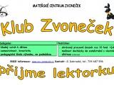 Klub Zvoneček hledá lektorku
